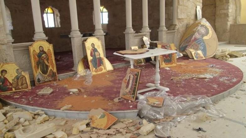 Zerstörte katholische Kirche in Homs, Syrien.