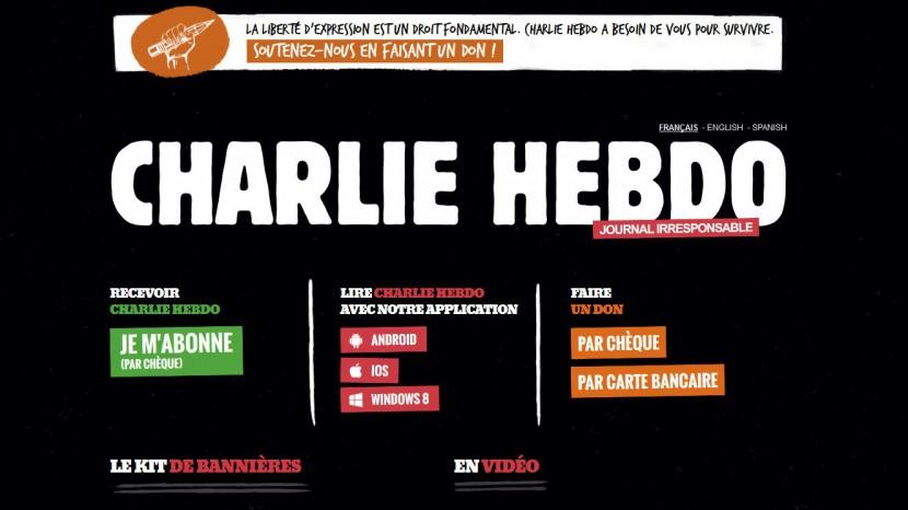 Das Bild zeigt die «Charlie Hebdo»-Startseite im Internet.
