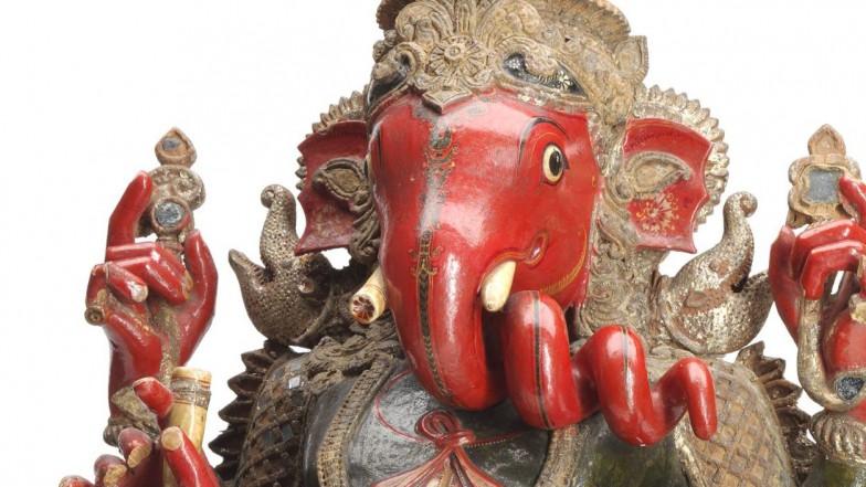 Figur der indischen Gottheit Ganesha von 1856 aus der Sammlung der Basler Mission.