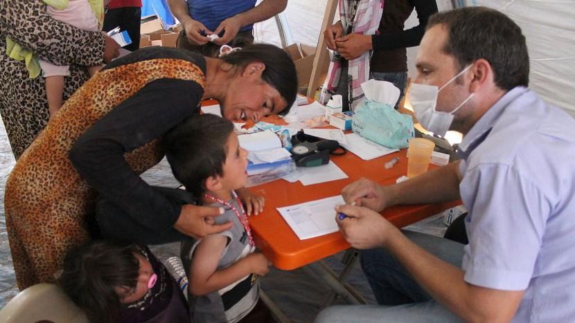 Jesidische Flüchtlinge in einem Flüchtlingslager im Nordirak.