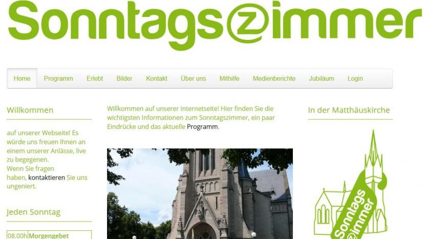 Die Website des «Sonntagszimmers».