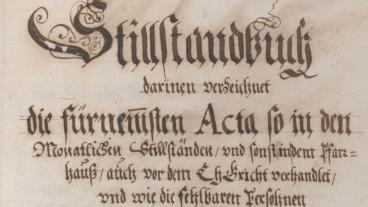 Titelblatt des Stillstandsprotokolls von Maschwanden 1670-1707.