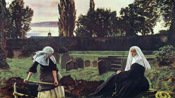 Das Tal der Stille von John Everett Millais.  Während die religiöse Kleidung von Ordensschwestern bei älteren Menschen noch immer Vertrauen weckt, wirkt sie auf Jüngere zuweilen befremdlich.