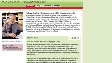 Screenshot der Homepage von Walter J. Hollenweger Screenshot der Homepage von Walter J. Hollenweger (www.wjhollenweger.ch).