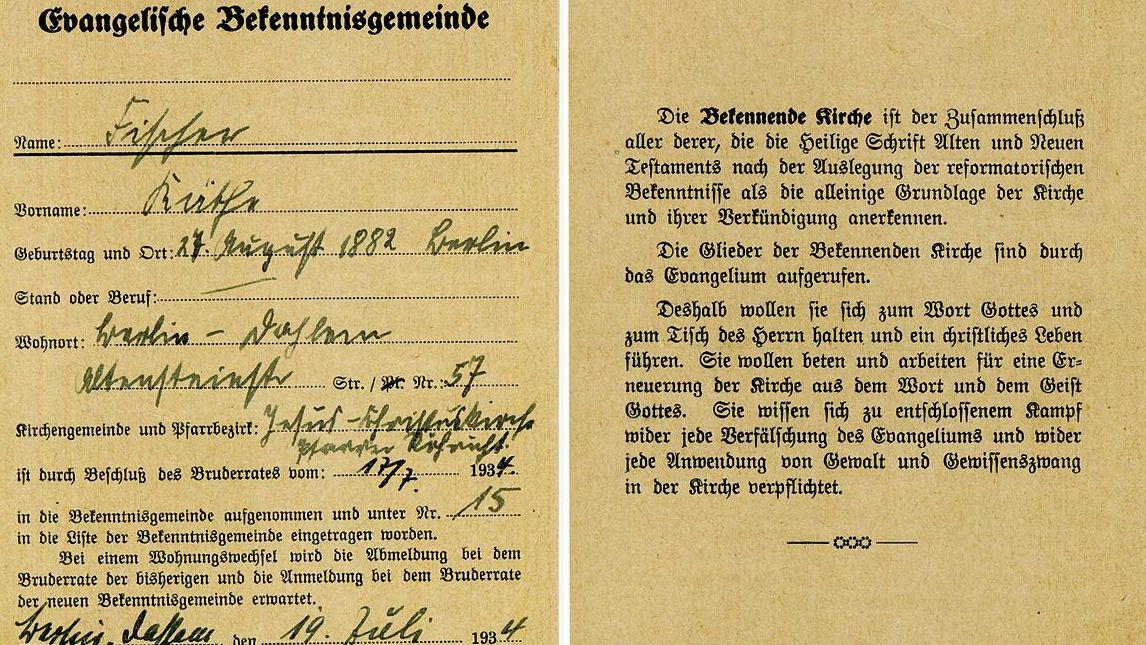 Mitgliedsausweis der Bekennenden Kirche, Berlin-Dahlem 1934.