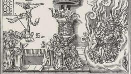Luther warnt den Klerus vor der Hölle. Doch warum nur? Ein Reformations-Crashkurs hilft hier weiter. «Die wahre Kirche und die falsche Kirche», Holzschnitt von Lucas Cranach d. J., um 1540.