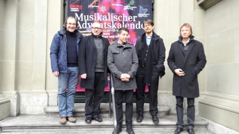 Die Organisatoren des Musikalischen Adventskalenders (von links: Andreas Nufer, Antonio Albanello, Christian Hosmann, Marc Fitze, Philippe Stalder).