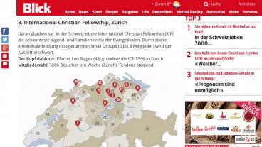 Ausschnitt aus dem Artikel von Blick.ch, in dem die Freikirche ICF als Gruppierung mit «sektenhaften Strukturen» bezeichnet wird.