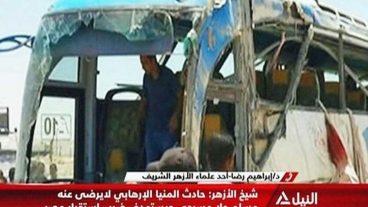 Aufnahme des zerschossenen Busses.