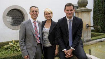 Stellen sich am 20. September zur Bundesratswahl: Ignazio Cassis, Isabelle Moret und Pierre Maudet.